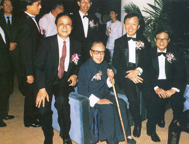 (From left) Prof. Ambrose King, Dr. Ch'ien Mu, Prof. Charles K. Kao and Dr. T.B. Lin at New Asia College's 40th anniversary dinner in 1989