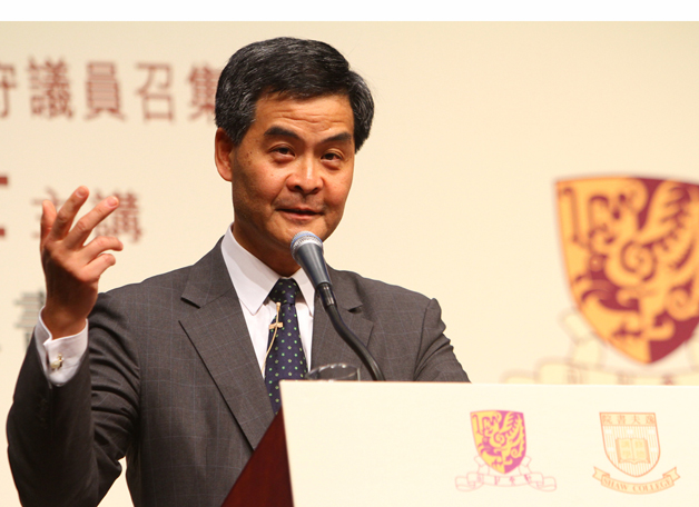 As if it was an early sign of the shape of things to come, Dr. the Honourable Leung Chun-ying spoke on the responsibilities of political leaders at a Shaw College assembly in November 2010.