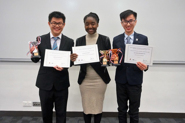 (From left) First runner-up Marco Ho, champion Kuterera Myrmidon Zvikomborero Kangara, and second runner-up Timothy Tung