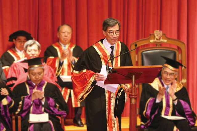7th Honorary Fellowship Conferment Ceremony<br><br>Prof. James C.Y. Watt addresses the audience