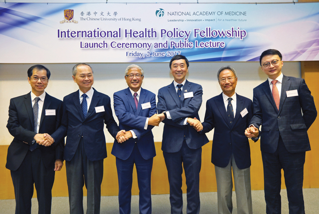 Prof. Joseph J.Y. Sung (4th left), Vice-Chancellor, CUHK; Dr. Victor Dzau (3rd left), President, NAM; Dr. Edgar Cheng (5th left), chairman, The Lanson Foundation; Prof. Fok Tai-fai (2nd left), Pro-Vice-Chancellor, CUHK; Prof. Francis Chan (6th left), dean, Faculty of Medicine, CUHK; and Dr. Derrick Au (1st left), director, Centre for Bioethics, CUHK