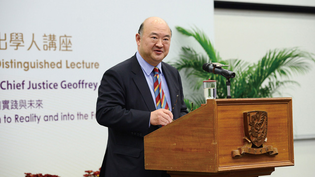 Geoffrey Ma, CJ, hosted the 50th Anniversary Distinguished Lecture entitled 'The Essence of Our Society: From a Written Constitution to Reality and into the Future 50 Years' on 22 March 2013.