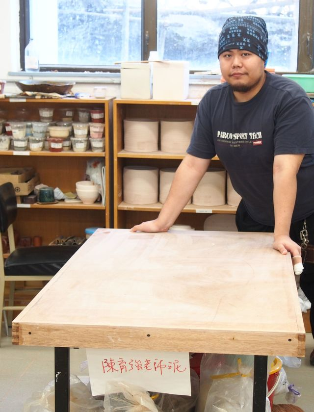 Mr. Jacky Lam and the ceramic work table he crafted from FSC-certified wood