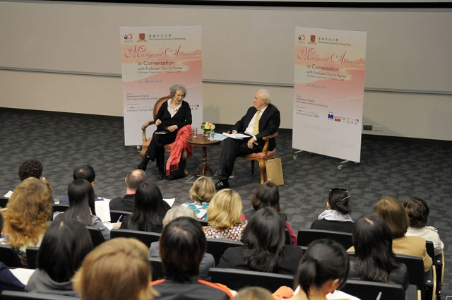 Margaret Atwood in Conversation with Prof. David Parker<br><br>About 600 staff and students from CUHK, secondary school students, and members of the public were in attendance.