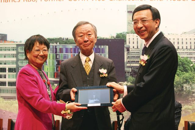 With former Vice-Chancellor Prof. Charles K. Kao after he received the Nobel Prize in Physics (5 February 2010)