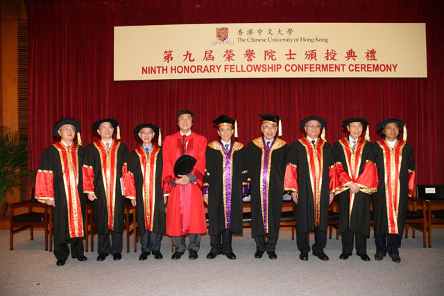 The 9th Honorary Fellowship Conferment Ceremony<br><br>The University were conferred honorary fellowships to Prof. Lee Pui-leung Rance (1st left), Mr. Leung Yingwai Charles (2nd left), Prof. Thomas Chung-wai Mak (3rd left), Prof. Sun Sai-ming Samuel (3rd right), Dr. Tam Wah-ching (2nd right) and Prof. Wu Weishan (1st right). Dr. Vincent H.C. Cheng (5th left), Chairman of the University Council, presided at the ceremony.