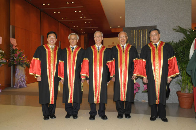 The 8th Honorary Fellowship Conferment Ceremony<br><br>From left: The Honourable Cheung Man-kwong, Mr. Chung Wing-kok Leslie, Prof. Kuan Hsin-chi, Prof. Lee Shiu-hung, and Mr. Mok Wah-chiu Christopher were conferred honorary fellowships