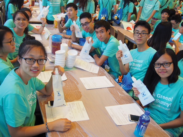Participants of Green O'Camp wth their reusable BPA-free bottles