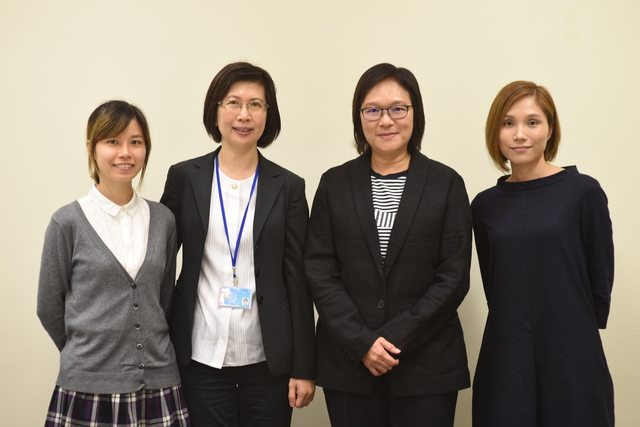 (From right) Ms. Judy Lo, Prof. Isabella Poon, Ms. Carol Chiu, and Ms. Daisy Chen, assistant computer officer of ITSC