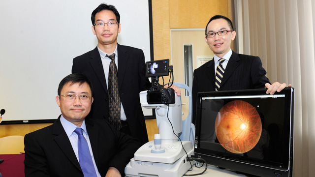 Prof. Benny Zee (left) and his team of the Jockey Club School of Public Health and Primary Care have developed a retinal image algorithm that evaluates cerebral vessel conditions and stroke risk