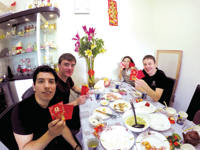 Exchange students visit a local student's home during the Chinese New Year to experience the traditional festivities (Photo provided by Ruby Cheung)
