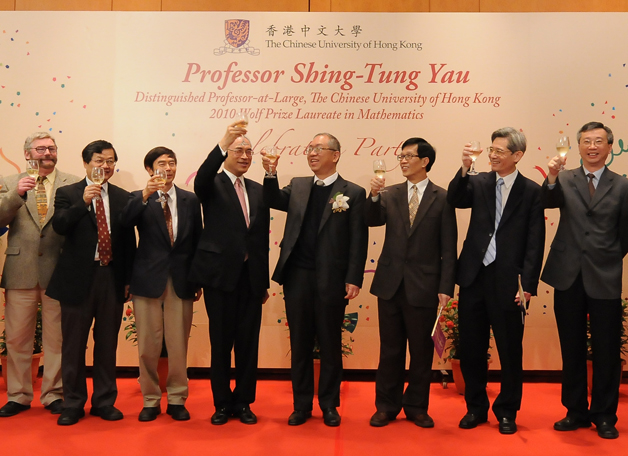 Prof. Yau Shing-tung (4th right), Distinguished Professor-at-Large of CUHK, has recently added yet another rare star to his academic firmament. Already a Fields Medallist, Prof. Yau was presented with the 2010 Wolf Prize in Mathematics, making him the only person of Chinese ethnicity to date who holds both honours.