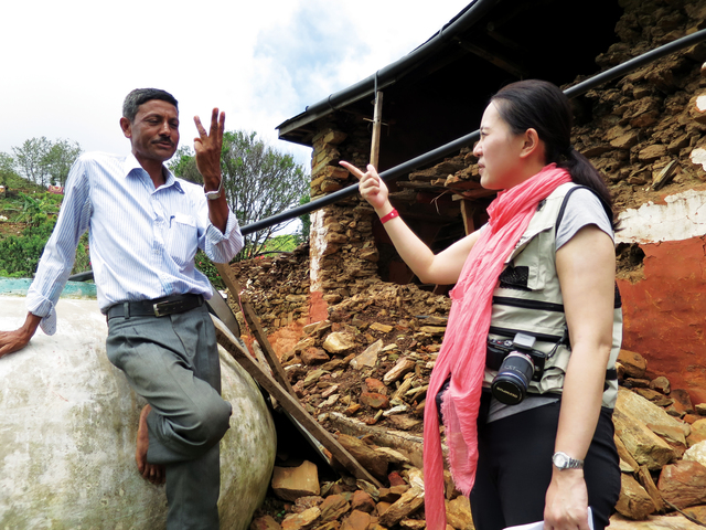 Prof. Emily Chan assessing the quake's aftermath in Nepal in June 2015. Topalo, teacher and head of Pipalthok Village, tells of his determination to equip local children with better knowledge of disaster preparedness