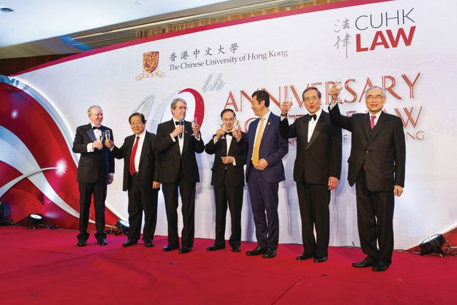 (From left to right) Prof. Mike McConville, Prof. Ambrose King, Prof. Christopher Gane, the Hon. Mr. Justice Patrick Chan, Prof. Joseph Sung, Prof. the Hon. Arthur Li and Prof. Lawrence J. Lau