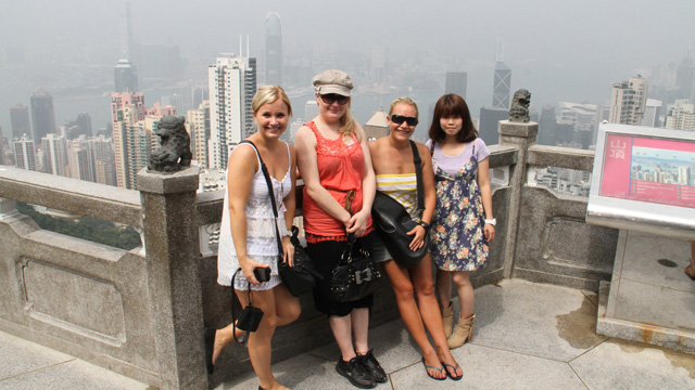 Incoming exchange students visit the Peak to see Hong Kong's stunning skyline. CUHK was hosting about 560 incoming exchange students on its campus in the first term of 2011–12.