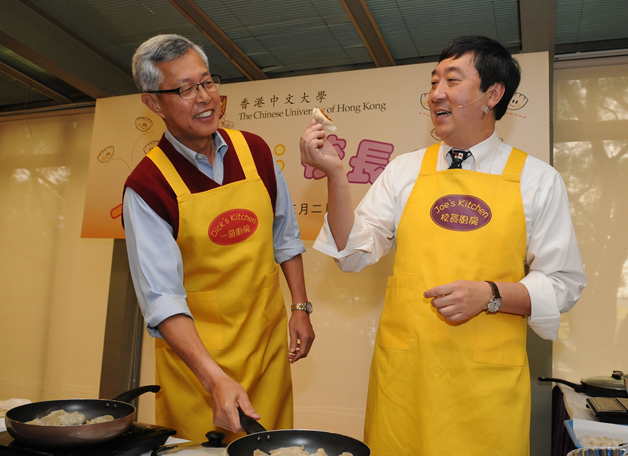 The other faces of an ex-Commissioner and a reigning Vice-Chancellor: Mr. Dick Lee and Prof. Joseph Sung as chef-raconteurs in March 2011.