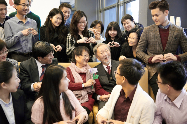 Professor and Mrs. Kao spend the Valentine's Day with teachers and students of CW Chu College on 14 February 2015