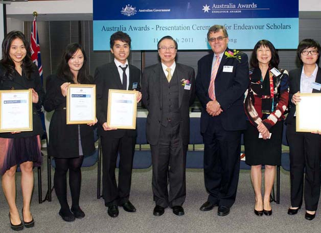 Four students, from CUHK and La Trobe and Adelaide Universities, were awarded scholarships for exchange programmes in Hong Kong and in Australia.